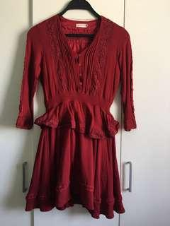 3/4 sleeves Red Dress