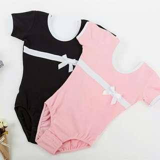 🚚 Short Sleeves Girls Leotards Ballet Dance Bodysuit Kids Gymnastics Dance Leotard pink black