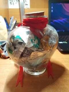 禮物 手摺心玻璃樽 $100