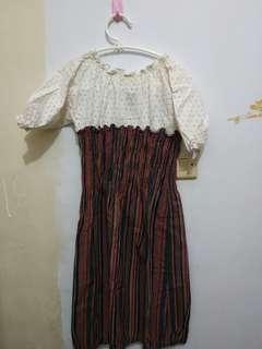 Mididress Stripes Maroon + White Lace