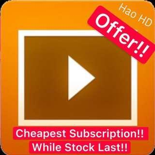 Cheapest HaoHD Account Offer!! While Stock last!! Cheapest IPTV and Video On Demand!