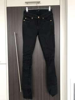 SEVEN FOR ALL MANKIND // Size 25 // Black Skinny Denim with Gold Hardware