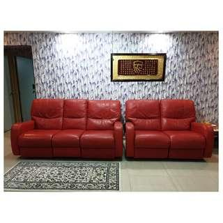 Recliner Sofa 3+2 (Half Leather) + Free Coffee Table