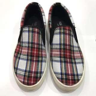 Red/blue Checkered tartan print slip on shoes