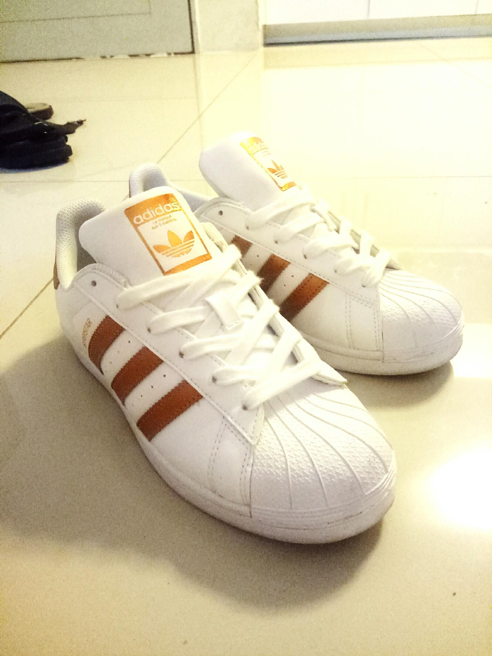 Adidas Superstar original gold&white, Women's Fashion, Shoes ...