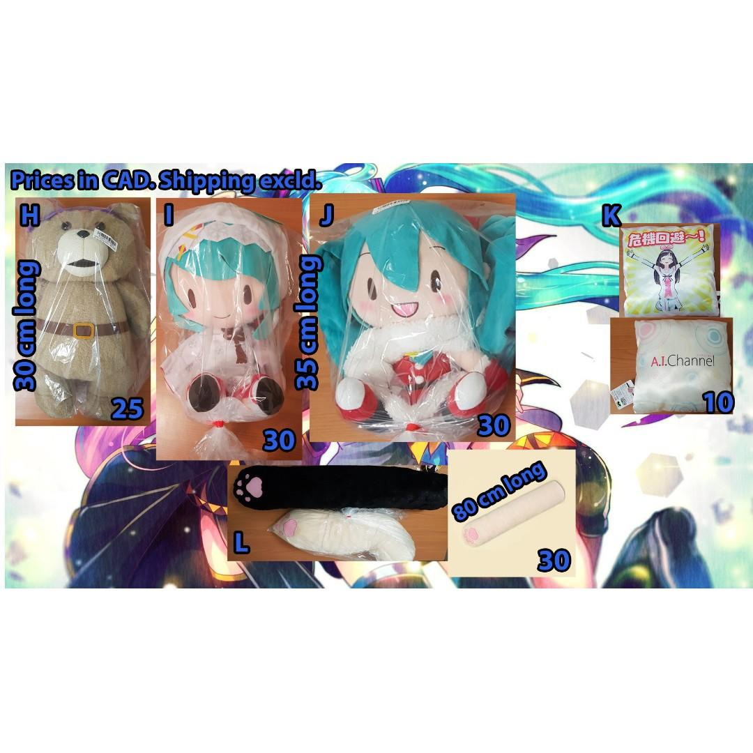Anime Nesoberi, Plushies, Pillows (Touhou, Love Live!, Fate, Kizuna AI, Hatsune Miku...etc)