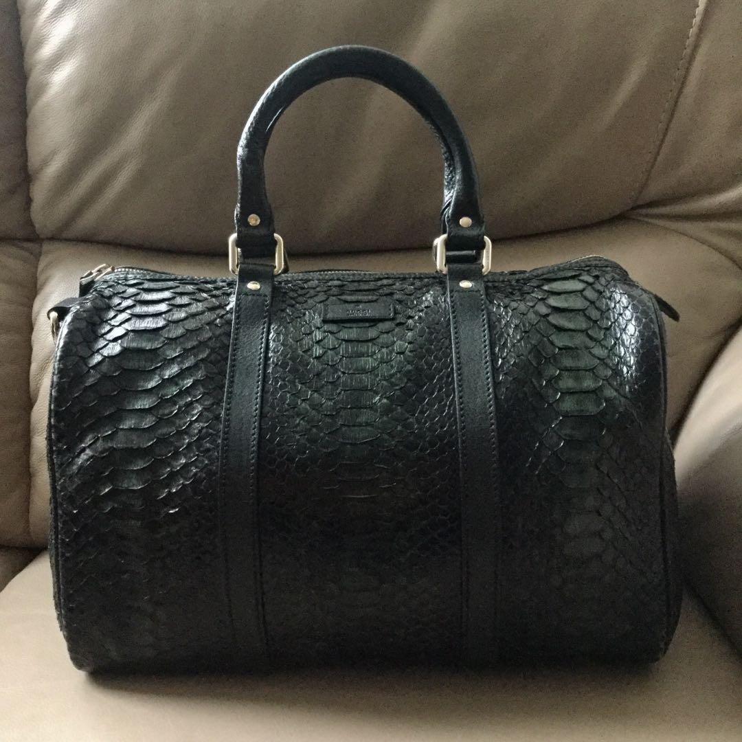 8f0d71ff44b Auth GUCCI Python Snake Skin Boston Bag