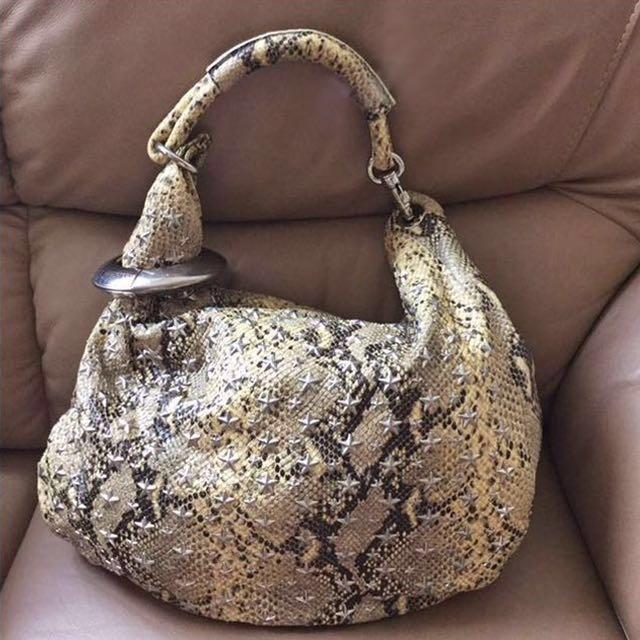 df592bb7bce Auth JIMMY CHOO Solar Stars Studded Python Snake Skin Large Hobo Bag ...