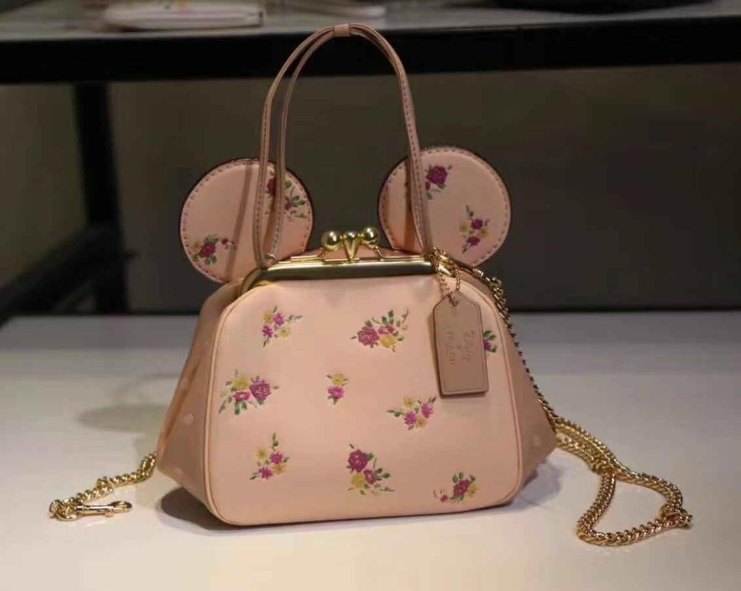 AUTHENTIC COACH KISSLOCK BAG WITH FLORAL MIX PRINT AND MINNIE MOUSE EARS (CFO)