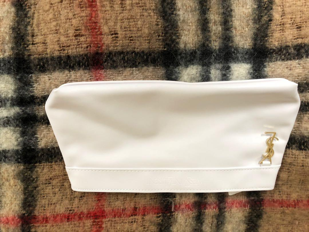 Authentic YSL Toiletry Bag. White vegan leather with gold hardware