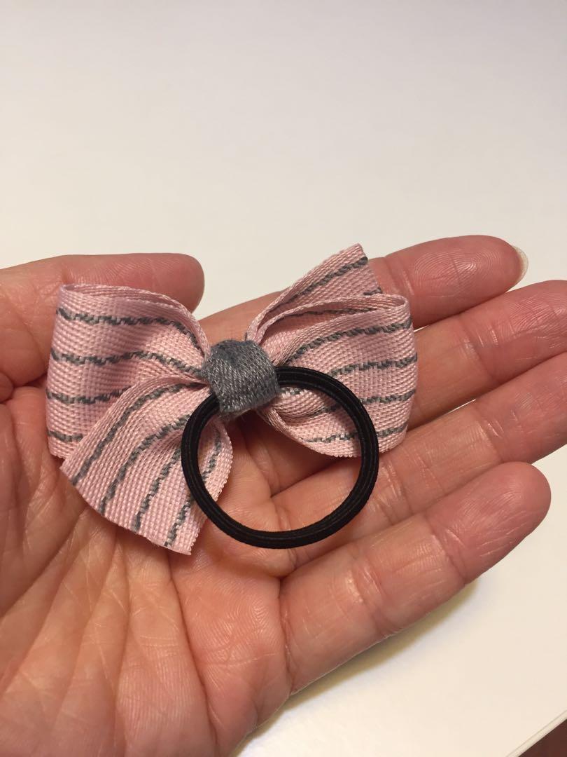bb兒童女孩 扎頭髮 粉紅色間條條紋蝴蝶 髮飾 橡筋 髮圈