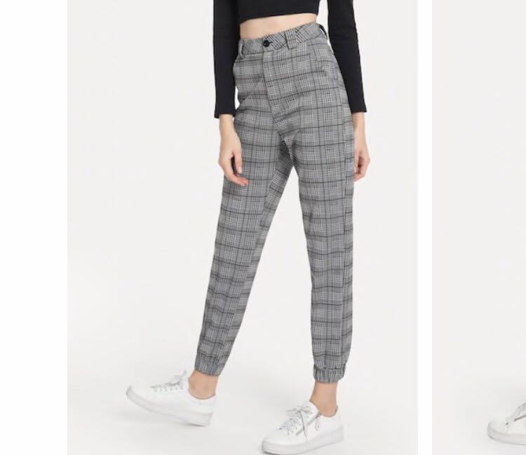 Checkered ankle grazer pants