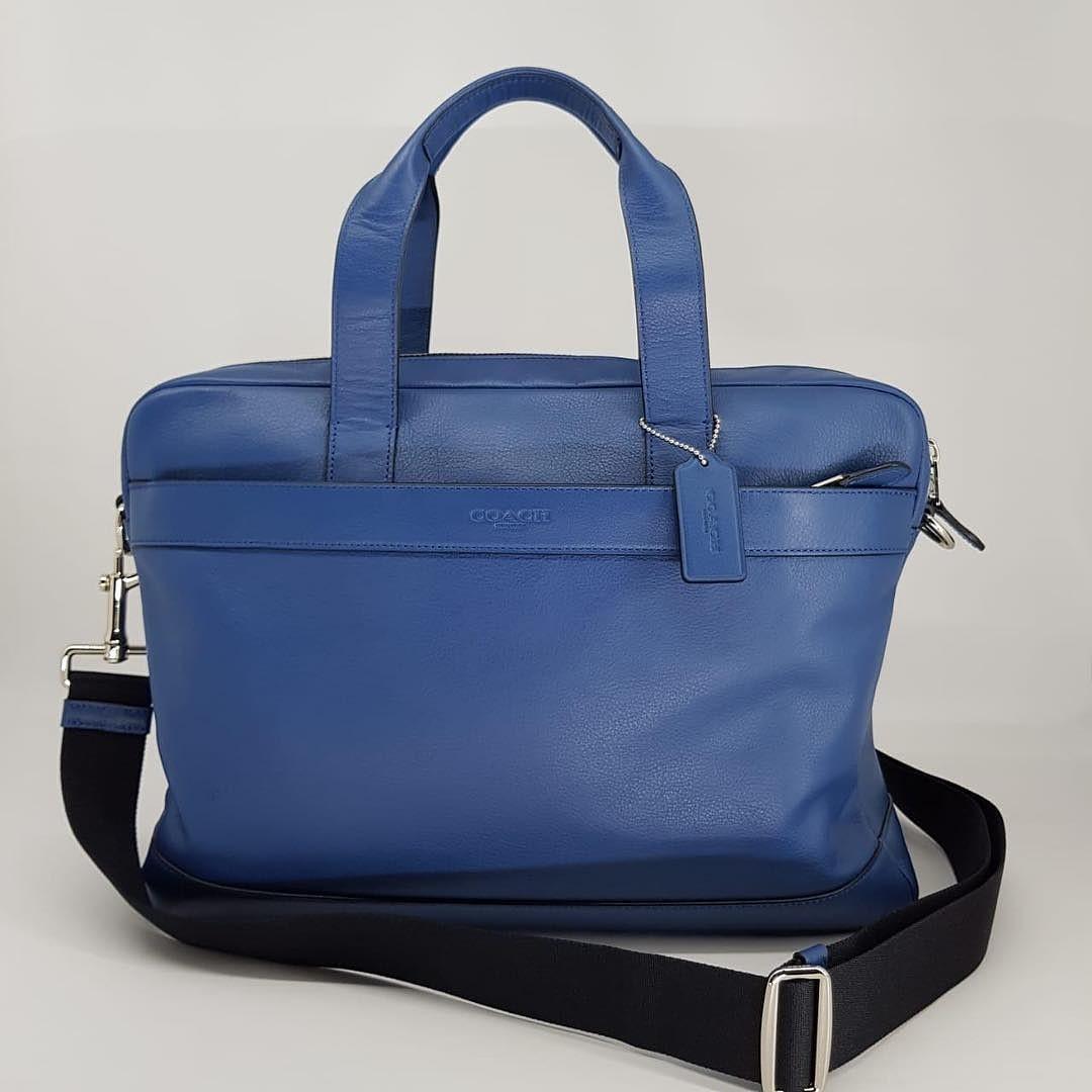 Coach Hamilton Briefcase Laptop Bag Leather sz 38x28x7 Blue With Long Strap