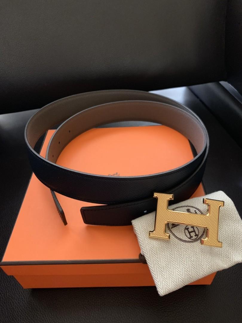 Hermes Belt 32 mm Reversible Guiloche Buckle  Sz 100  Black - Grey Asphalt  Black - Blue Prussure  sz 95  Black - Etain  Black - Blue Nuit