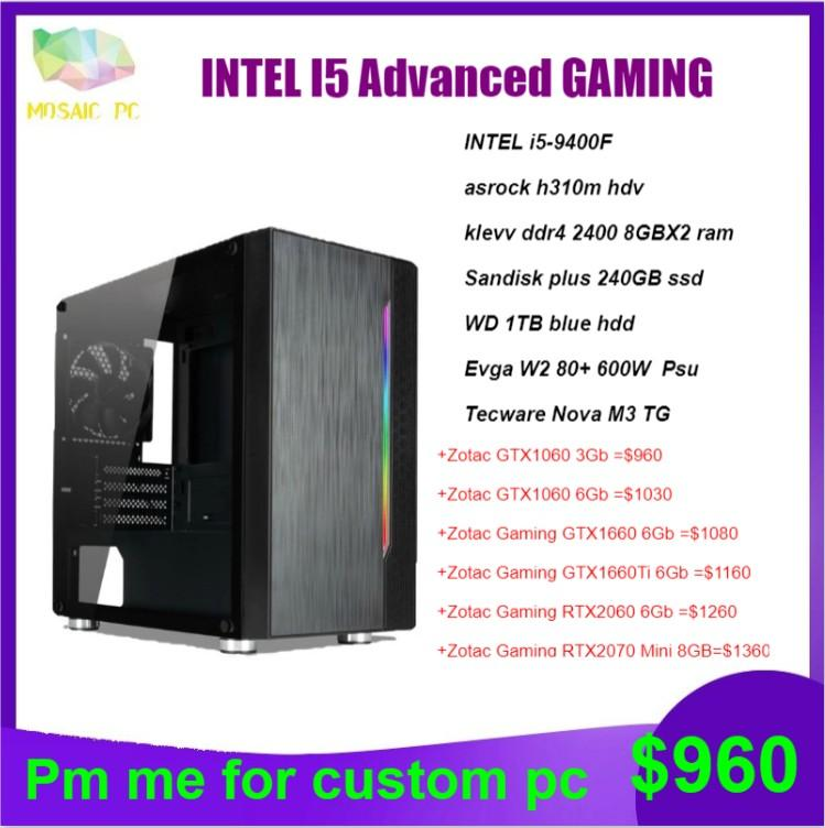 Intel i5-9400F advance gaming desktop pc system(better than