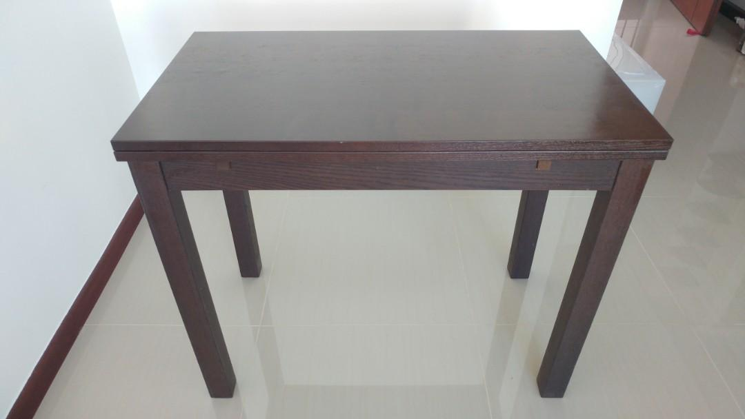 Ikea Dark Timber Wood Extendable Dining Table Furniture Tables Chairs On Carousell