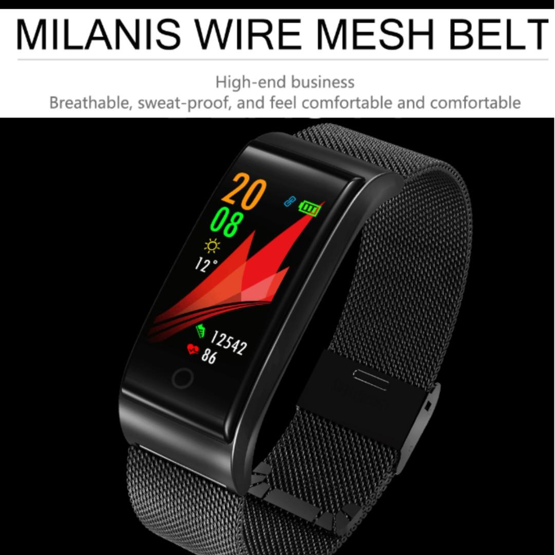 [In Stock] Elegant Smart Watch Business Styled Wire Mesh Belt Fitness Tracker Comes with Full Colour Display Waterproof Heart Rate Blood Pressure Monitoring App notifications