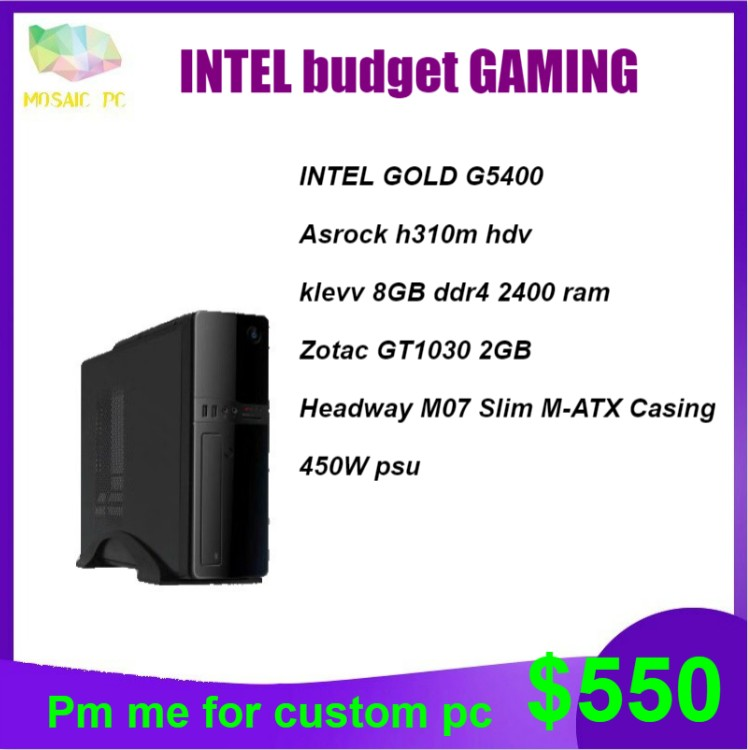 Intel Gold budget gaming desktop pc system(LOL max graphic setting,Apex  bettween minimum and maximum system requirements)