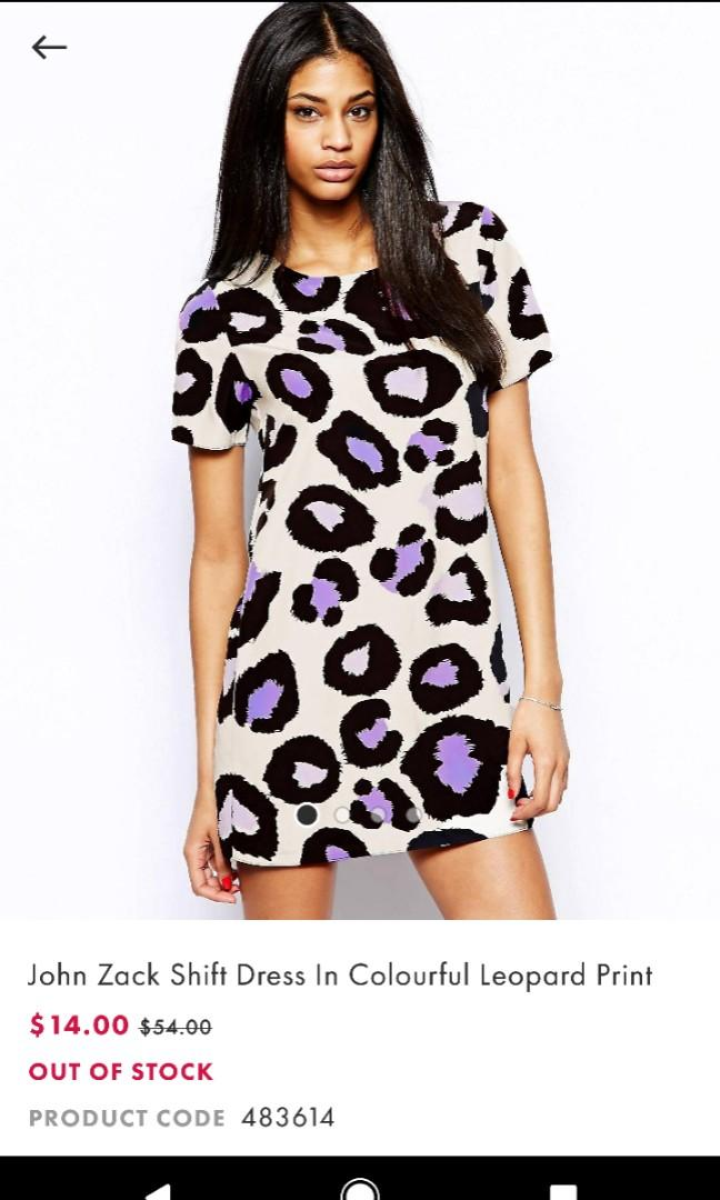 John Zack Purple Leopard Print Shift Dress