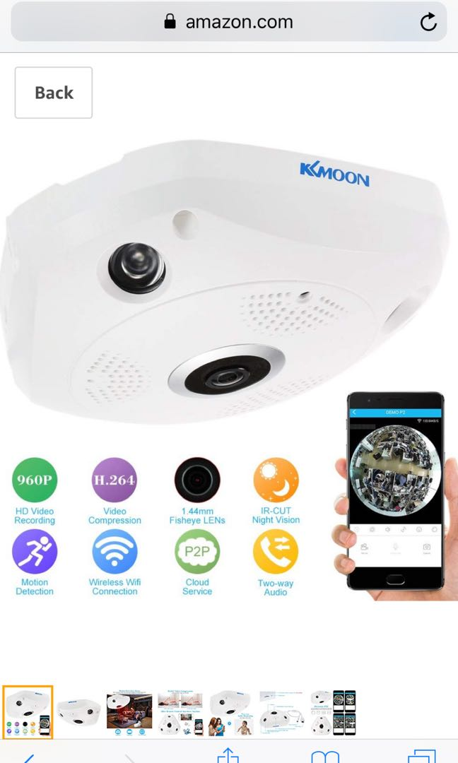 KKmoon 960P HD Wireless Wifi VR IP Camera 360 Degree Full View 1 44MM Lens  Fish Eye Panoramic Indoor Security CCTV Camera Support Phone APP Remote
