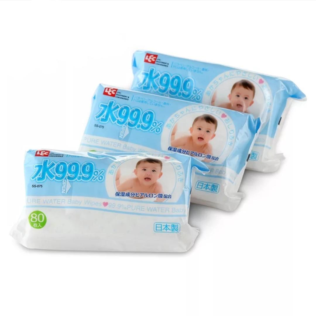 LEC 99.9% Pure Water Baby Wipes (80 Pieces)