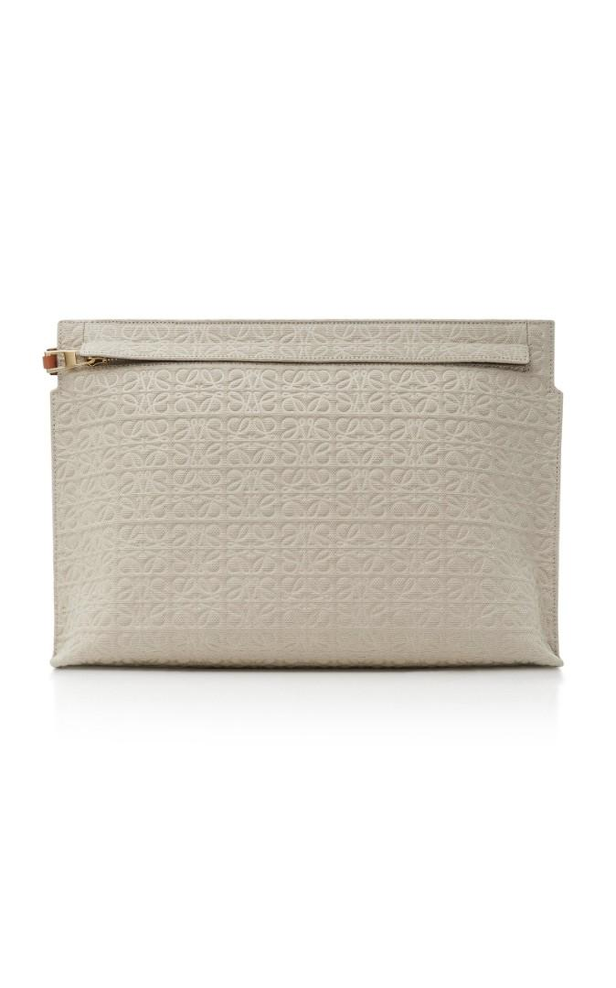 Loewe T Pouch in embossed canvas