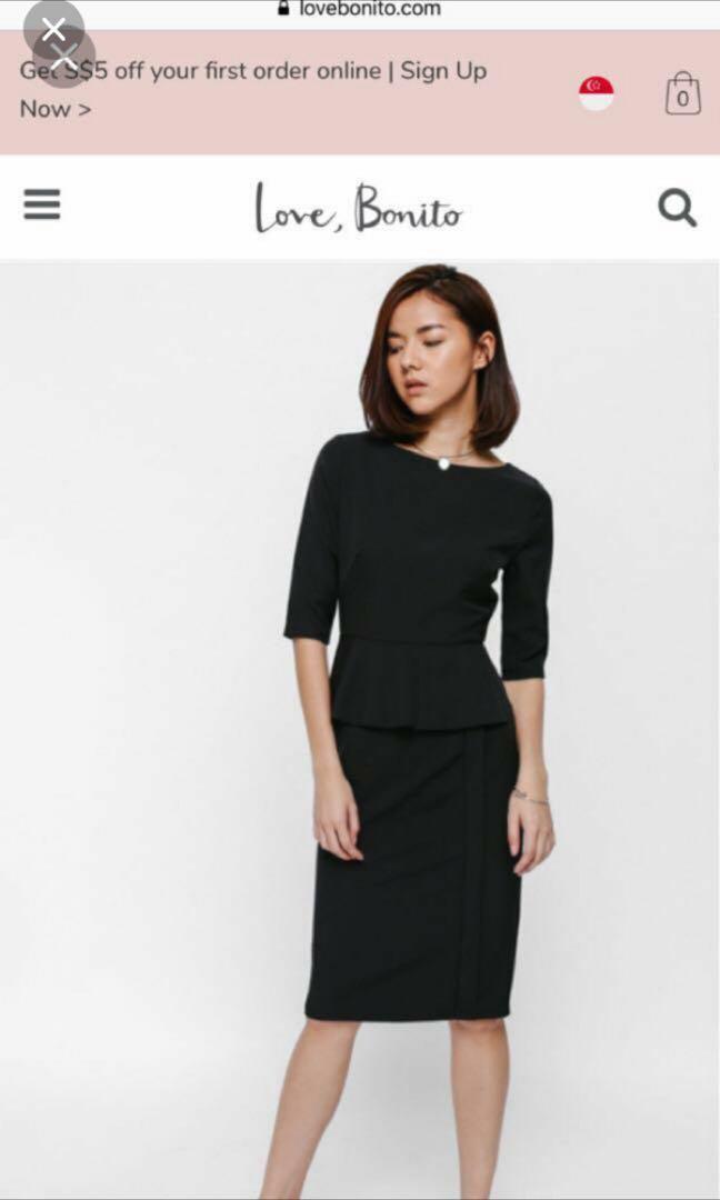 404bf956f96e Love Bonito Melges Peplum Midi Dress (S) BNWT, Women's Fashion ...
