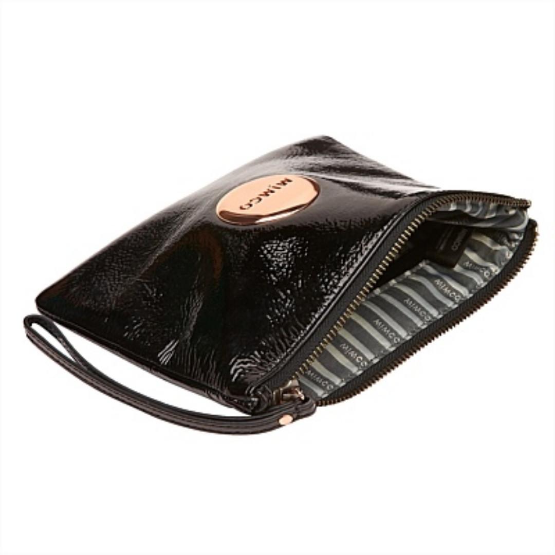 Medium Pouch, Rose Gold, Black Patent Leather