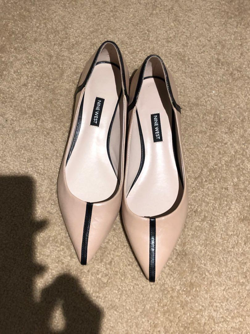 Nine West Pointy Flats Nude and Black