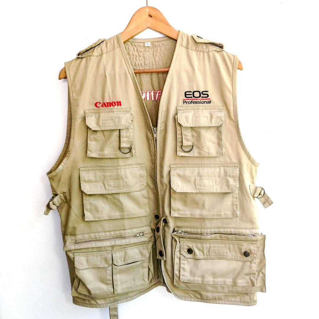 Canon Jacket Vintage Canon Vest Jacket Vintage 90/'s Canon Multi Pocket Sleeveless Vest Jacket Size ML