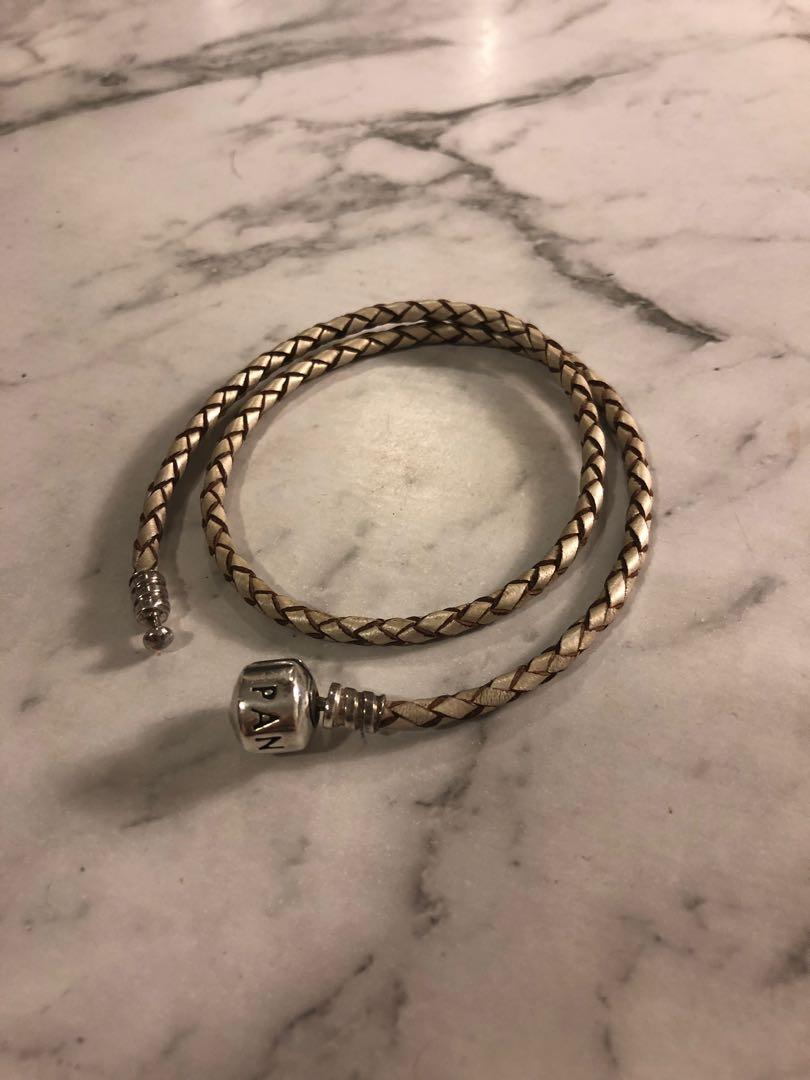 Pandora Moments pink double woven leather bracelet Official