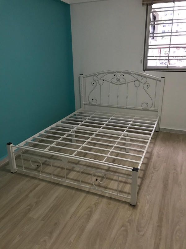 Queen Bed Frame White Metal Cny