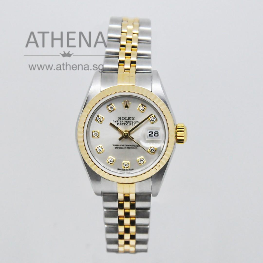 "ROLEX ""HALF-GOLD"" OYSTER PERPETUAL LADIES DATEJUST ""Y"" SERIES"" SILVER DIAMOND DIAL"" WITH CERT 79173 (LOCAL AD) JWWRL_1288"