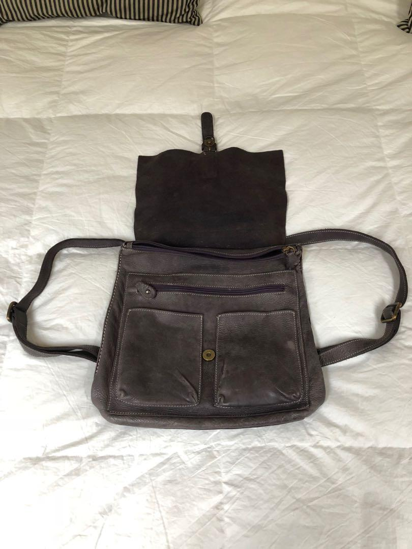 ROOTS Backpack. Grey leather. Convertible to shoulder carry