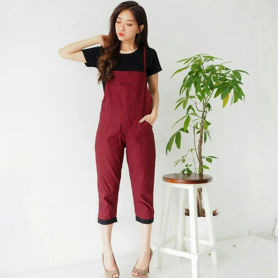 SET805 setelan jumpsuit wamita dan kaos dalaman jumpsuit polos celana kodok baju kodok bahan