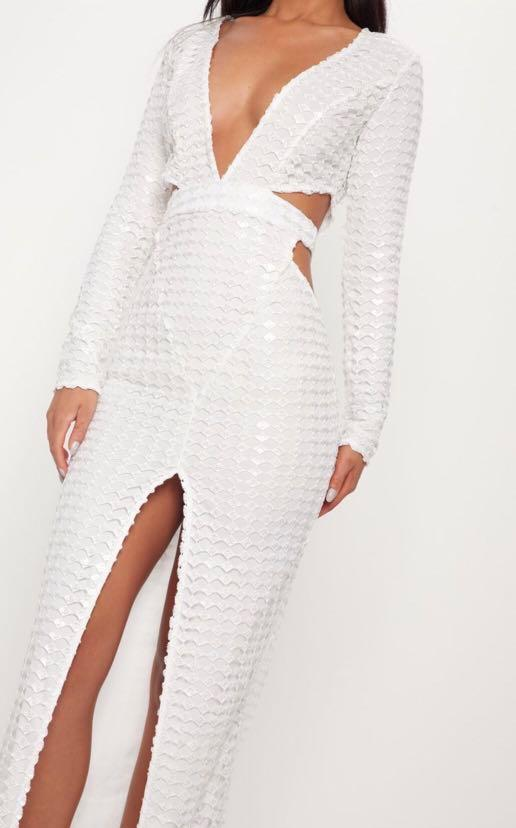 Sexy White Cut out Embellished Maxi Dress