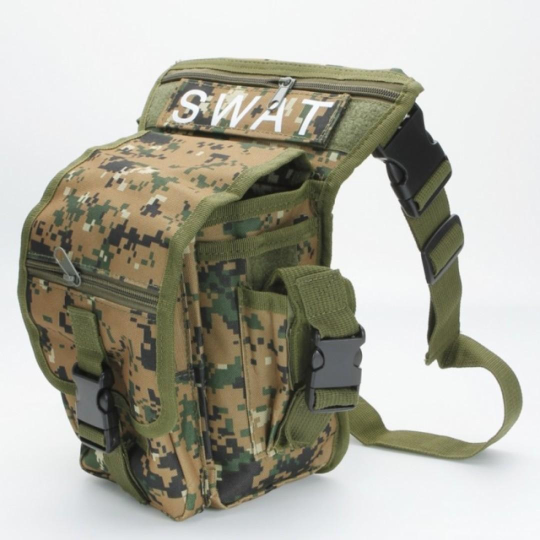 SWAT Utility Leg Outdoor Sport Waterproof Thigh Bag Beg Paha Kaki Digital Jungle