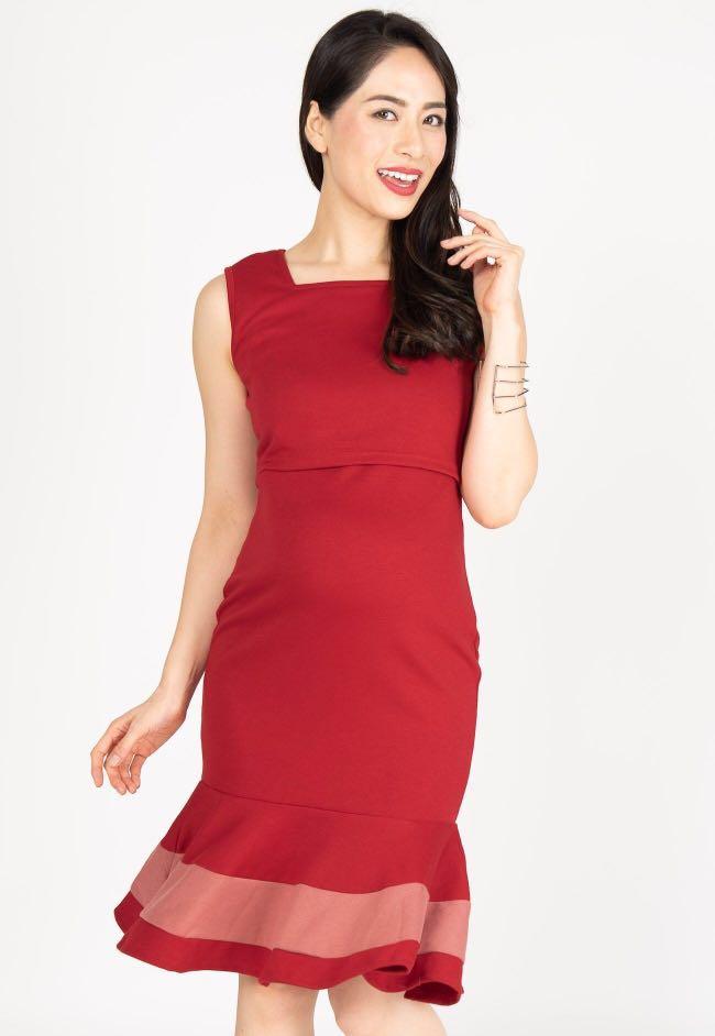 104fba1c1af46 Vesper Mermaid Nursing Dress in Red, Women's Fashion, Clothes ...
