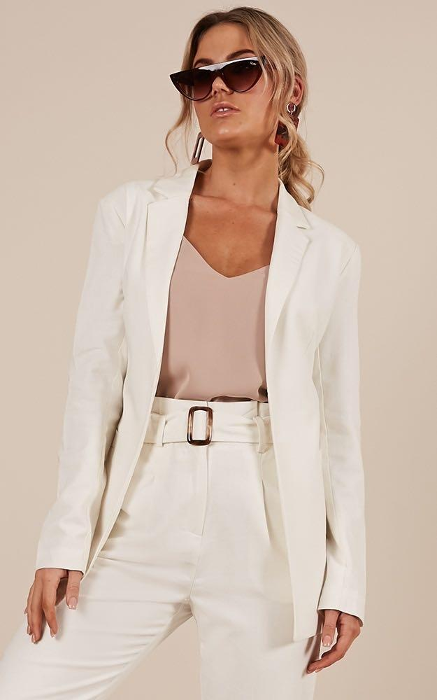 White Blazer & Pants Suit Set Showpo