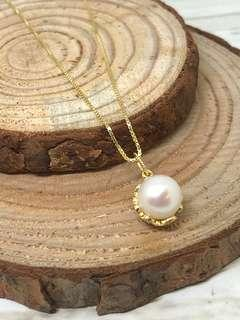 8-8.5mm Round White Freshwater Pearl Lace Pattern Pendant in Silver 925 (Yellow Gold Plated) - Necklace sold separately
