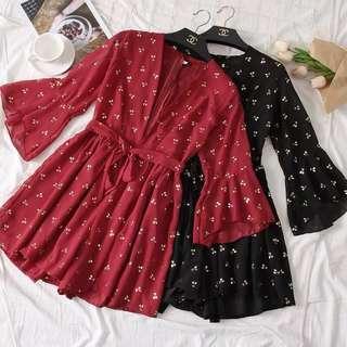 🚚 [PO] 3 colours cherry prints bell sleeve romper
