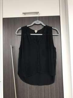 Aritzia WILFRED // Size XS Black 100% Silk Top