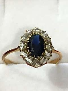 Sale Less 30% Antique Beautiful Classy Peranakan Intan with Sapphire Gold Ring