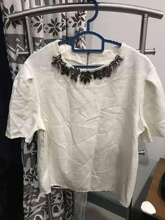 Embellished white top