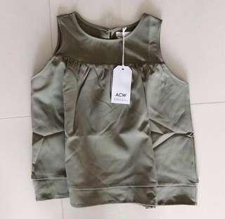 acw olive ruffle babydoll sleeveless round neck top