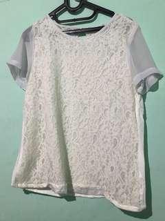 White Lace Top - Blouse putih CONTEMPO