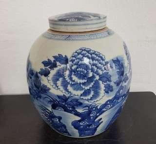 Sales Blue and White Big Tea-leaves Pot With Cover