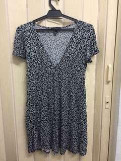 Forever21 flowery black mini dress