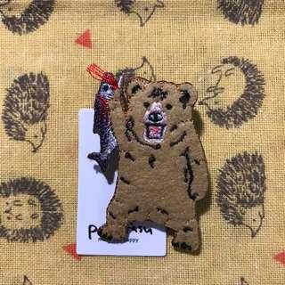 Victory Bear with Fishy Brooch Pin