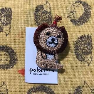 Apple Head Lion Brooch Pin